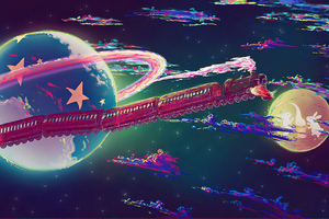 Space Train 4k Wallpaper