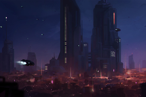 Spaceships City 4k