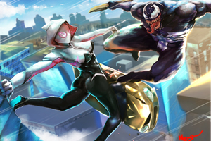 Spider Gwen And Venom Art