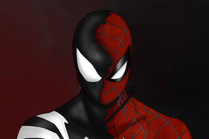 Spider Man Custom Symbiote Red Suit Split 4k Wallpaper