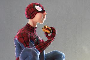 Spider Man Eating Burger Wallpaper