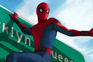 Spider Man Homecoming On Sign Board Artwork Wallpaper