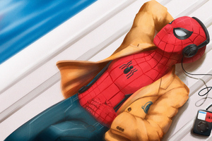 Spider Man Listening To Music Wallpaper