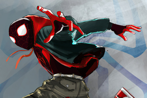 Spider Man Miles Red Wallpaper