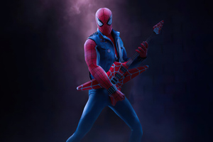 Spider Man Playing Guitar 4k