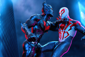Spiderman 2077 Vs Batman Beyond 5k Wallpaper