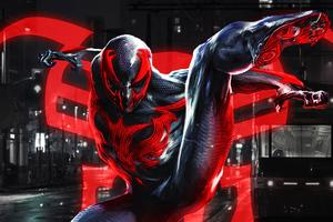 Spiderman 2099 Blue Neon Wallpaper