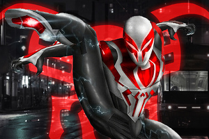 Spiderman 2099 White Neon