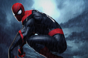 Spiderman 4k Raining Wallpaper