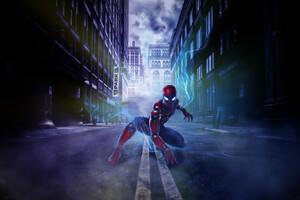 Spiderman Adventure In The Dark Streets Wallpaper