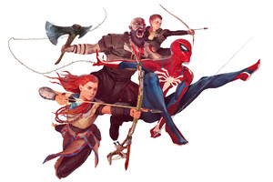 Spiderman And God Of War Characters Art Wallpaper