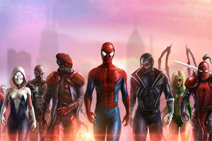Spiderman And His Team Wallpaper