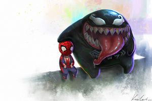 Spiderman And Venom 4k Chibi