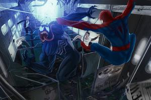 Spiderman And Venom Fighting