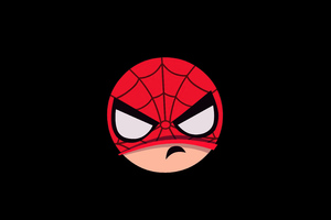 Spiderman Angry Minimal Badge 5k Wallpaper