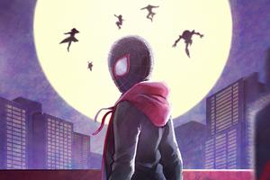 Spiderman Behind Little Heroes Wallpaper