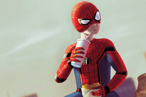 Spiderman Break Time Wallpaper