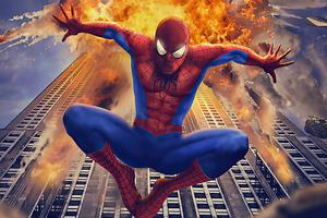 Spiderman Building Blast Wallpaper