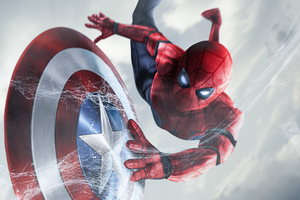 Spiderman Catching Captain America Shield Wallpaper
