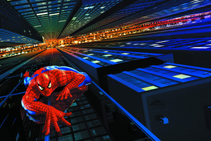 Spiderman Climbing Building Digital Art 5k Wallpaper