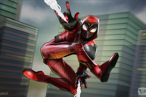 Spiderman Crimson Cowl Suit Wallpaper