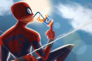 Spiderman Drinking Juice