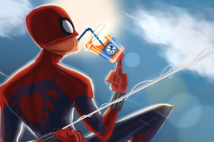 Spiderman Drinking Soda