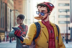 Spiderman Eating Waffle Wallpaper