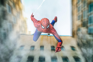 Spiderman Falling From Building Cosplay Wallpaper
