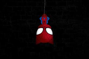 Spiderman Hanging Dark 4k Wallpaper