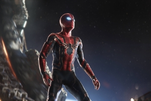 Spiderman In Intergalactic Space Avengers Infinity War