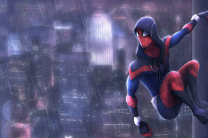 Spiderman In Rain Art Wallpaper