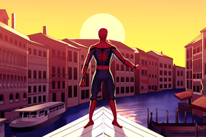Spiderman In Venice Wallpaper
