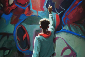 Spiderman Into The Spider Verse Paint Art 4k Wallpaper