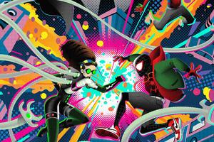Spiderman Into The Spiderverse Silkscreen Tribute Poster Wallpaper