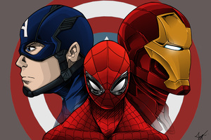 Spiderman Iron Man Captain America Artwork Wallpaper