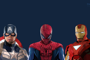 Spiderman Iron Man Captain America Low Poly Artwork