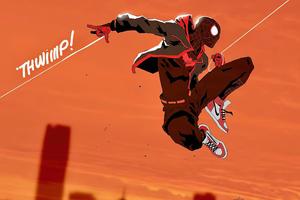 Spiderman Jumping Art 4k