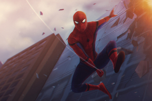 Spiderman Jumping One Way Wallpaper