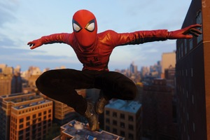 Spiderman Jumping Wearing Red Spider Jacket