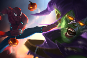 Spiderman Kicking Goblin