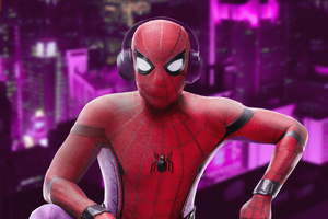 Spiderman Listening Music 4k Wallpaper