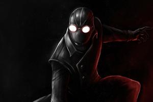 Spiderman Noir Black Suit Minimal 5k Wallpaper