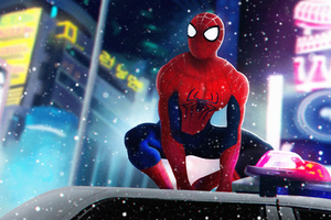 Spiderman On Police Car Wallpaper