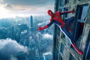Spiderman Outside Building 4k Wallpaper