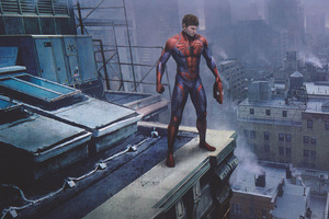 Spiderman Peter Parker Standing On A Rooftop Wallpaper