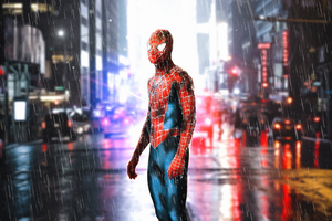 Spiderman Standing In Rain Wallpaper
