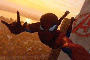 Spiderman Taking Selfie Of Avengers Tower Wallpaper