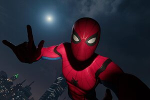 Spiderman Taking Selfie With Moon