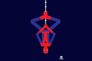 Spiderman Upside Down Minimalism 4k Wallpaper